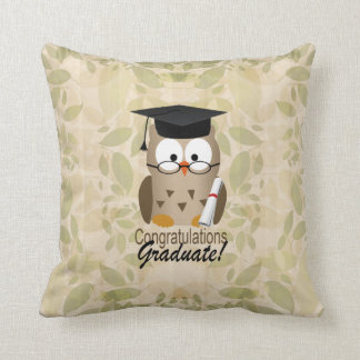 Cute Wise Owl Graduate Throw Pillow