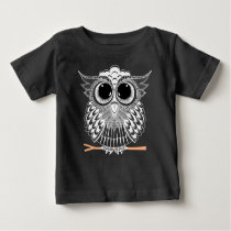 Cute Wise Owl Mandala Doodle Henna Pattern Baby T-Shirt