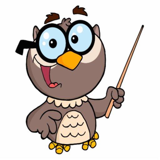 cute wise owl teaching teacher cartoon photo sculpture keychain