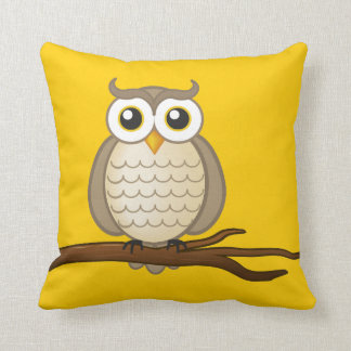 Cute Wise Owl Throw Pillow