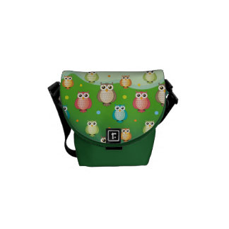 Cute Wise Owls Colorful Pattern | Messenger Bag