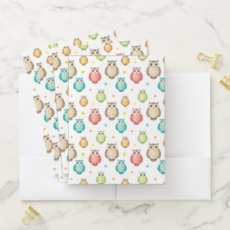 Cute Wise Owls Pattern Pocket Folder