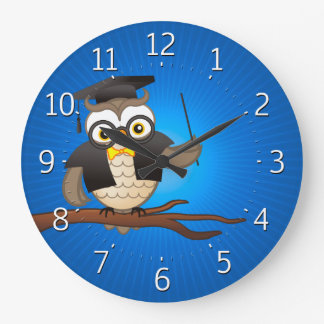 Cute Wise Owls with Glasses Large Clock