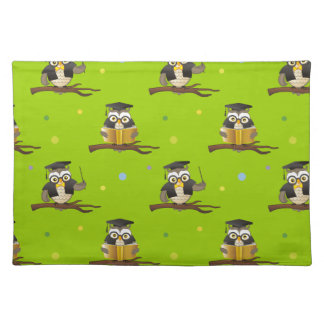 Cute Wise Owls with Glasses Pattern Placemat