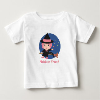 Cute Witch and Black Cat on Flying Broom Baby T-Shirt