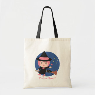 Cute Witch and Black Cat on Flying Broom Budget Tote Bag