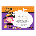 Cute Witch and Candy Halloween Birthday Personalized Invite