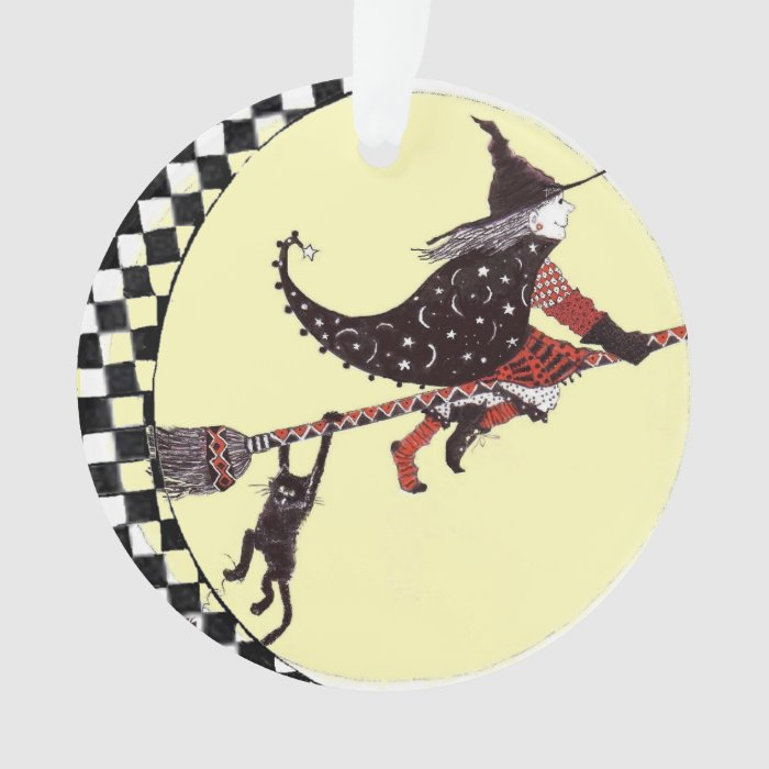 Cute Witch And Cat On Broom Ornament Zazzle