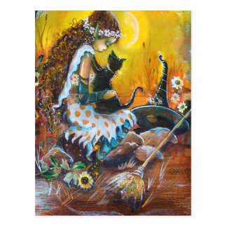 cute Witch and Cat POSTCARD