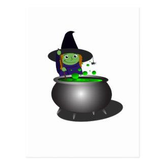 Cute Witch at Cauldron Postcard