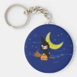 Cute Witch Basic Round Button Keychain