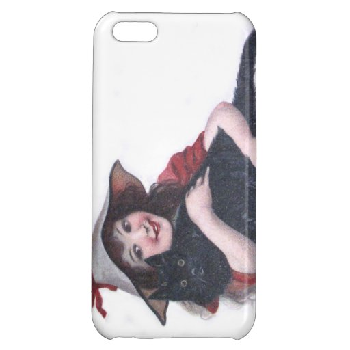 Cute Witch Black Cat Bat Cover For iPhone 5C