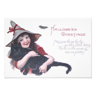 Cute Witch Black Cat Bat Photo Print