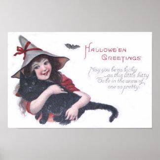 Cute Witch Black Cat Bat Poster