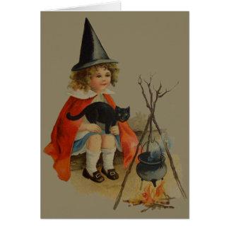 Cute Witch Black Cat Cauldron Fire Card