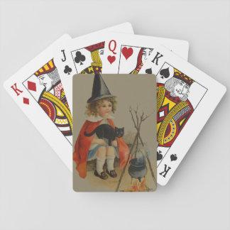 Cute Witch Black Cat Cauldron Fire Card Decks