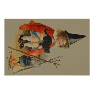 Cute Witch Black Cat Cauldron Fire Photo Print