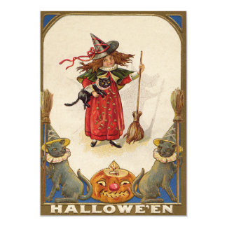 Cute Witch Black Cat Jack O' Lantern Card