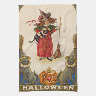 Cute Witch Black Cat Jack O' Lantern Hand Towel