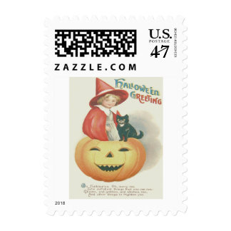 Cute Witch Black Cat Jack O Lantern Postage