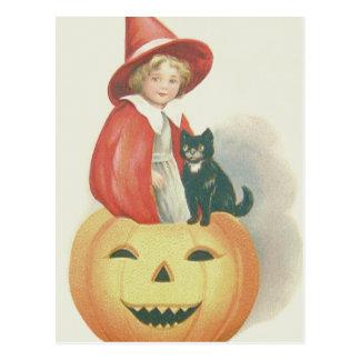 Cute Witch Black Cat Jack O Lantern Postcard