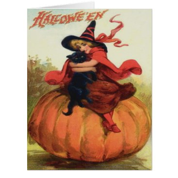 Halloween Themed Cute Witch Black Cat Pumpkin Card