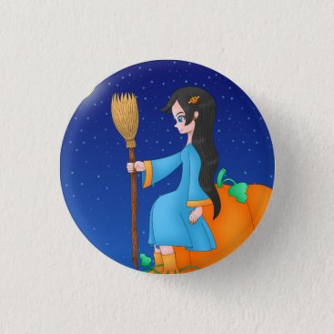 Halloween Themed Cute Witch button