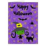 Cute Witch, Cat, Bats & Spider Purple Halloween Card