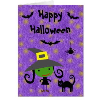 Cute Witch, Cat, Bats & Spider Purple Halloween Card