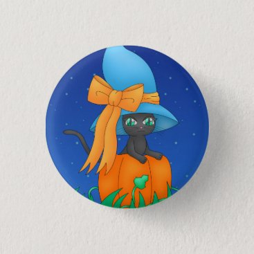 Halloween Themed Cute Witch Cat Button