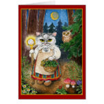 Cute witch cat in enchanted forest greeting card