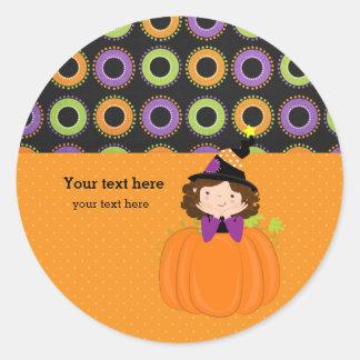 Cute witch classic round sticker