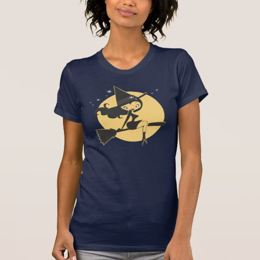 Cute Witch Flying in Night Sky Tee