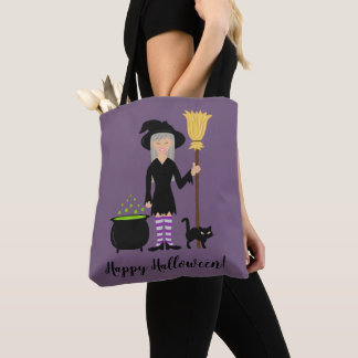 Cute Witch Girl And A Cat Happy Halloween Text Tote Bag