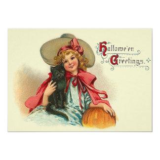 Cute Witch Girl Black Cat Pumpkin Card