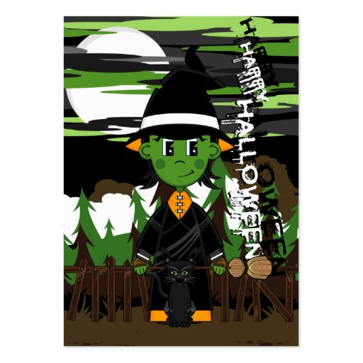 Cute Witch Halloween Bookmark Business Card Templates