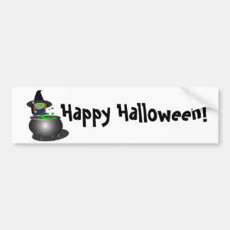 Cute Witch Halloween Bumper Stickers