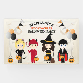 Cute Witch Halloween Party Banner