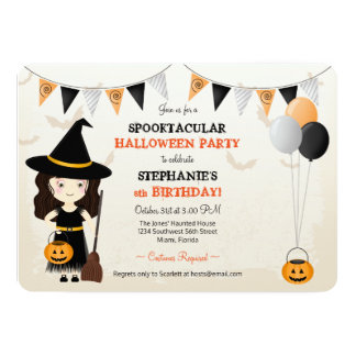 Cute Witch Halloween Party Card