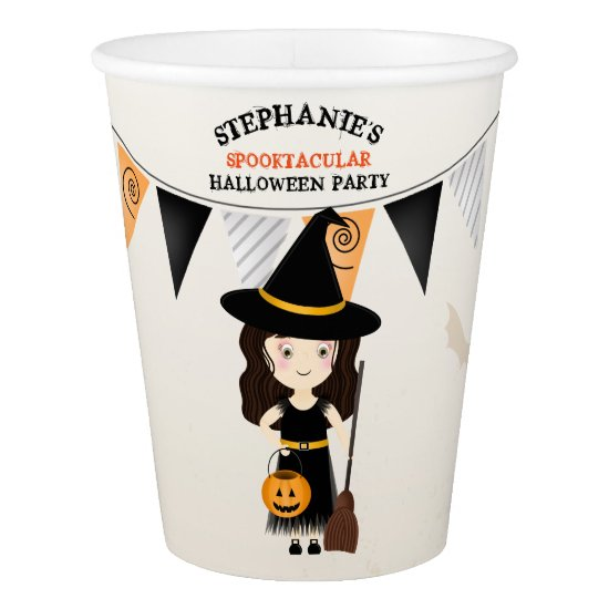 Cute Witch Halloween Party Paper Cup