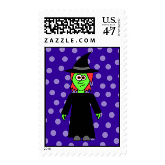 Cute Witch Halloween Postage Stamp