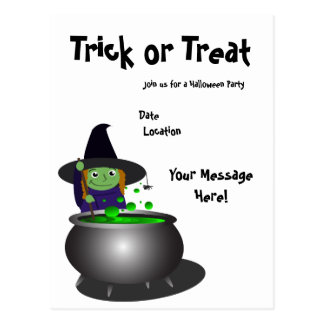 Cute Witch Halloween Postcard