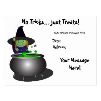 Cute Witch Halloween Postcard