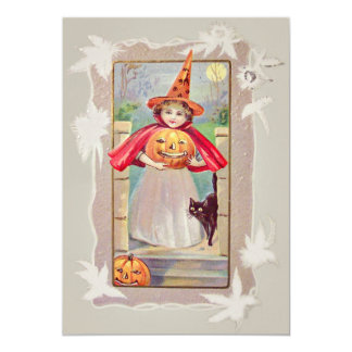 Cute Witch Jack O' Lantern Pumpkin Black Cat Card