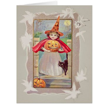 Halloween Themed Cute Witch Jack O' Lantern Pumpkin Black Cat Card
