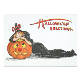 Cute Witch Jack O' Lantern Pumpkin Card