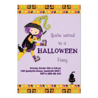 Cute Witch Kid's Halloween Card