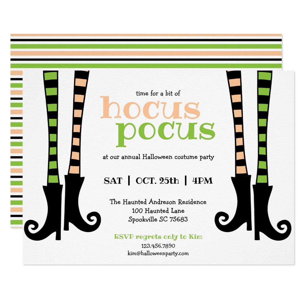 Cute Witch Leggings & Boots Hocus Pocus Halloween Invitation
