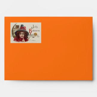 Cute Witch Owl Crescent Moon Pumpkin Envelope