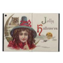 Cute Witch Owl Crescent Moon Pumpkin iPad Air Cover